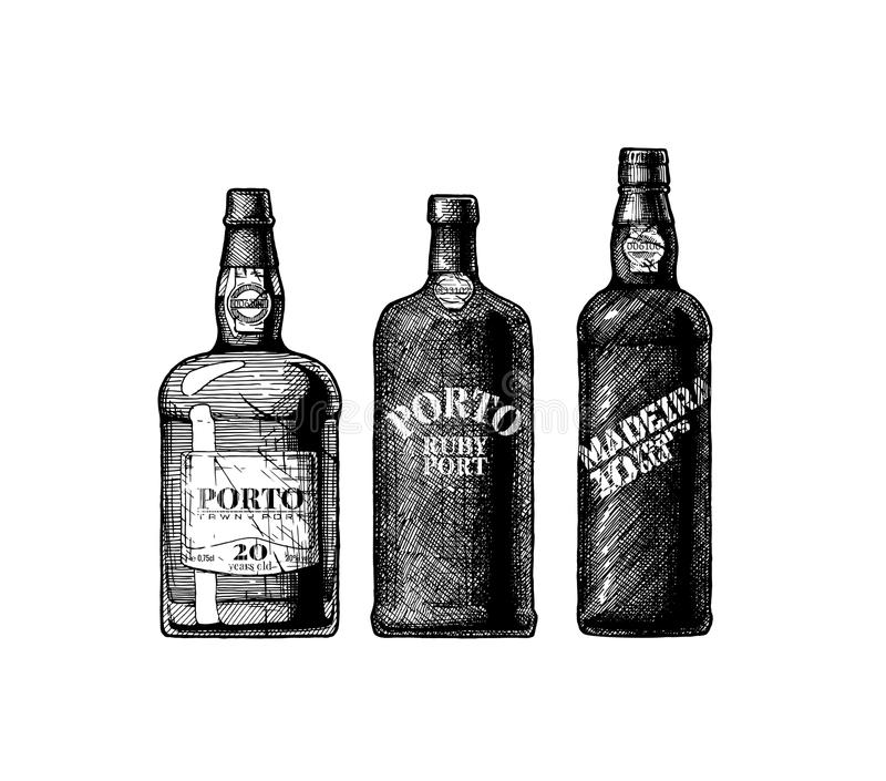 Port and Madeira wine bottles. Vector hand drawn illustration of three port and Madeira wine bottles in vintage engraved style stock illustration