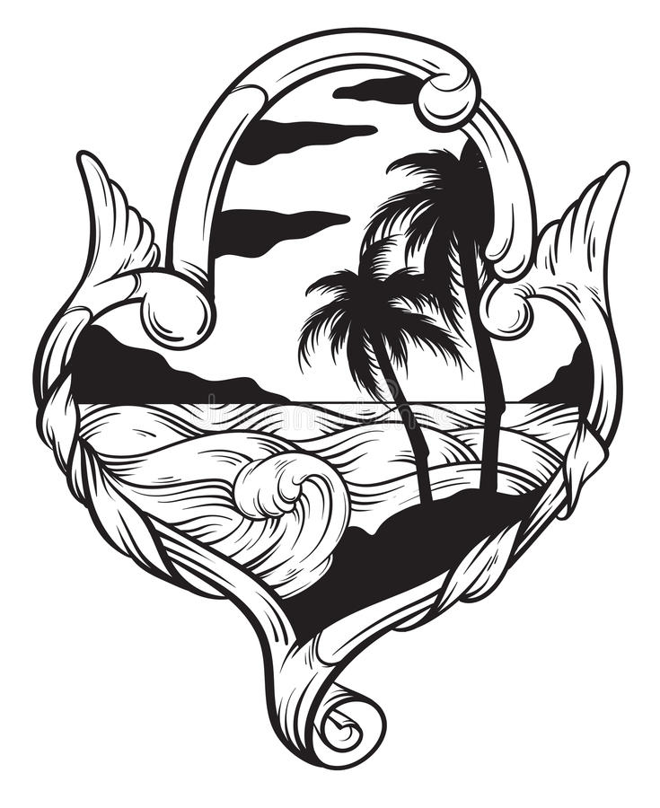 Vector hand drawn illustration of tropical landscape with waves in frame. royalty free illustration