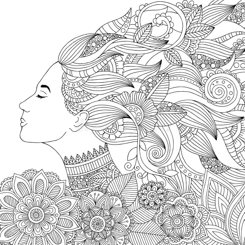 Vector hand drawn illustration woman with floral hair for adult coloring book. Freehand sketch for adult anti stress royalty free illustration