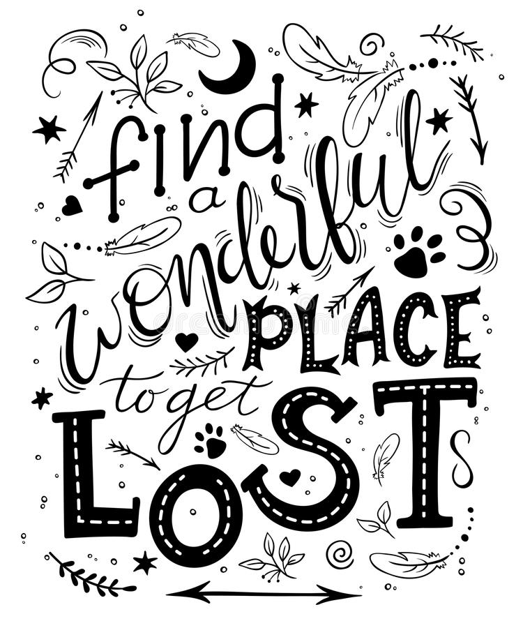 Vector hand drawn inspiration lettering quote - find a wonderful place to get lost. Can be used as a motivation card, a royalty free illustration