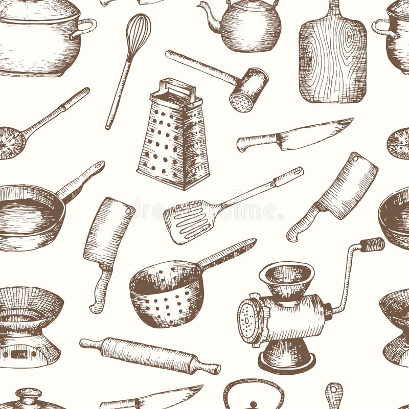 Vector hand drawn kitchen tools seamless pattern. stock illustration