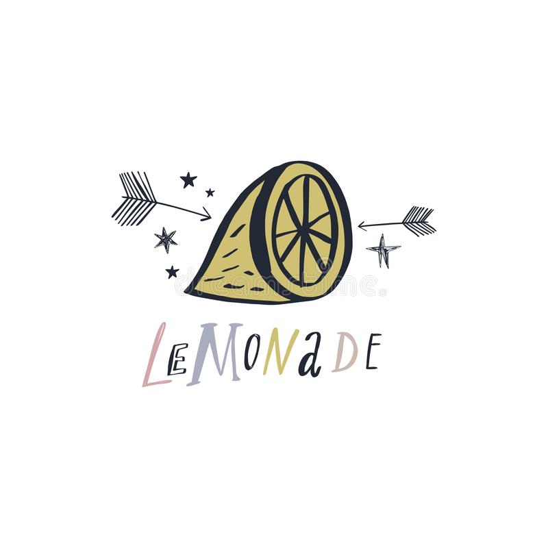 Vector hand drawn lemon. Doodle sketch. Good for summer design royalty free illustration