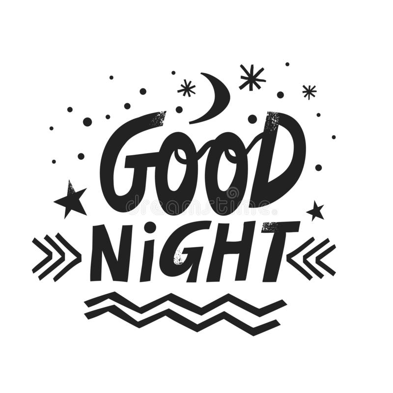 Vector hand-drawn lettering Good Night with moon, stars and snowflakes.  royalty free illustration