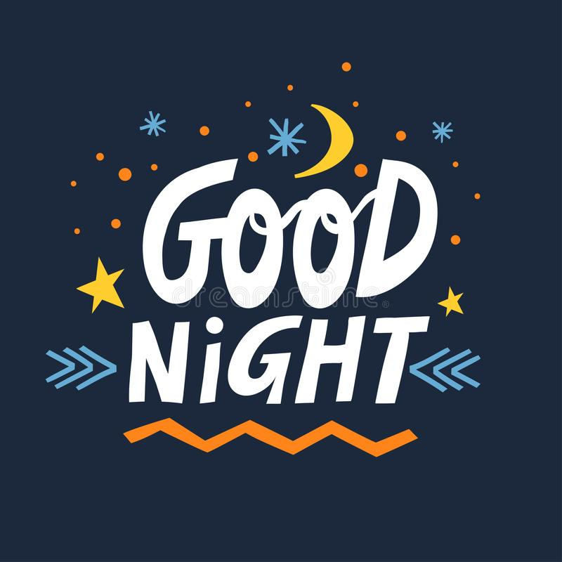 Vector hand-drawn lettering Good Night with moon, stars and snowflakes on a dark blue background.  vector illustration