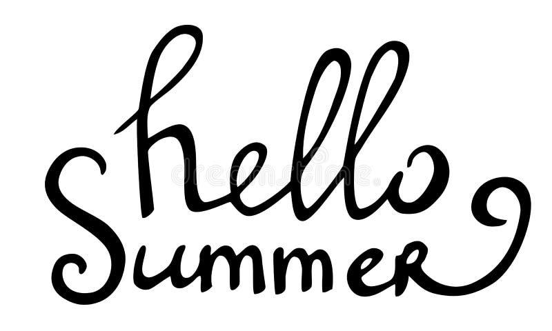Vector hand drawn lettering hello summer stock illustration