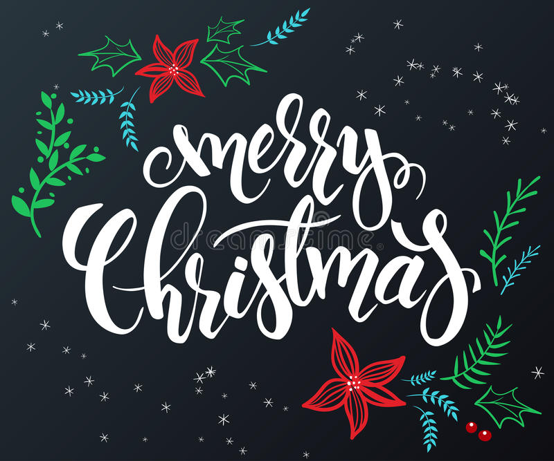 Vector hand drawn lettering - merry christmas - with doodle decorative elements - poinsettia flower, branch and royalty free illustration