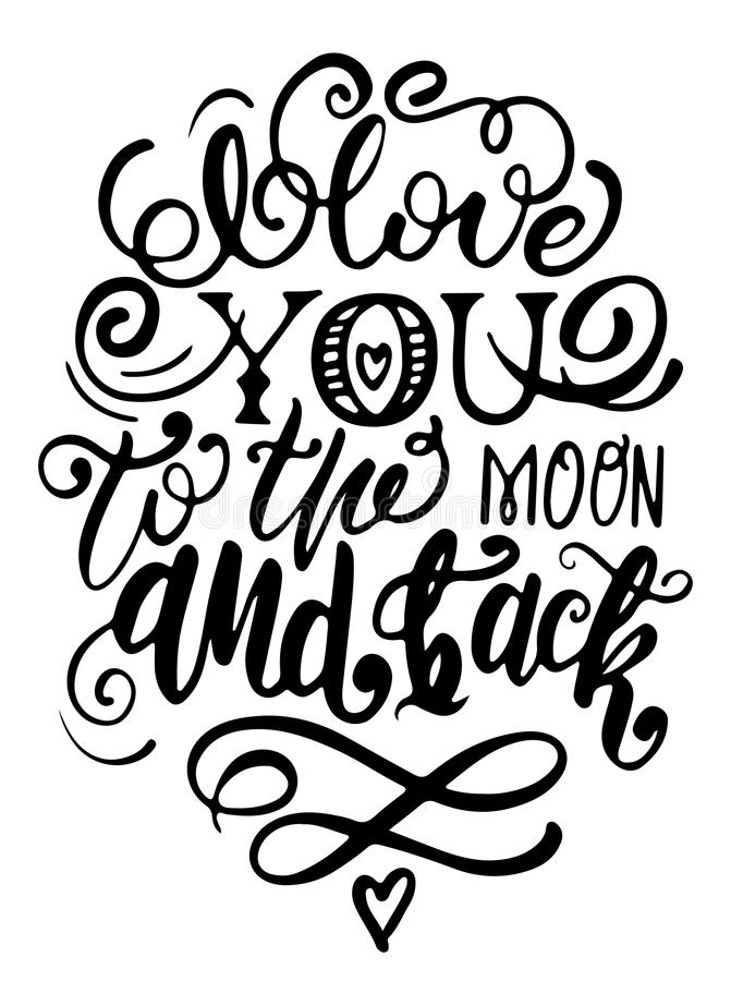 Vector hand drawn lettering poster. Creative typography card with phrase, hearts and decor elements. I love you to the moon and ba royalty free stock photo
