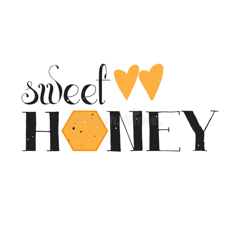 Vector hand drawn lettering. Sweet honey. Handwritten unique phrase, black on white background. Calligraphy for card, logo, badge, tag and other designs. Honey vector illustration