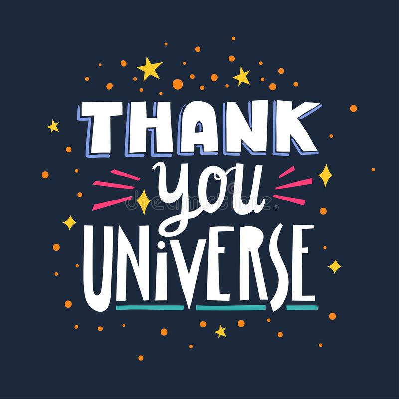 Vector hand-drawn lettering Thank You Universe made of different styles letters on a dark blue background.  stock illustration