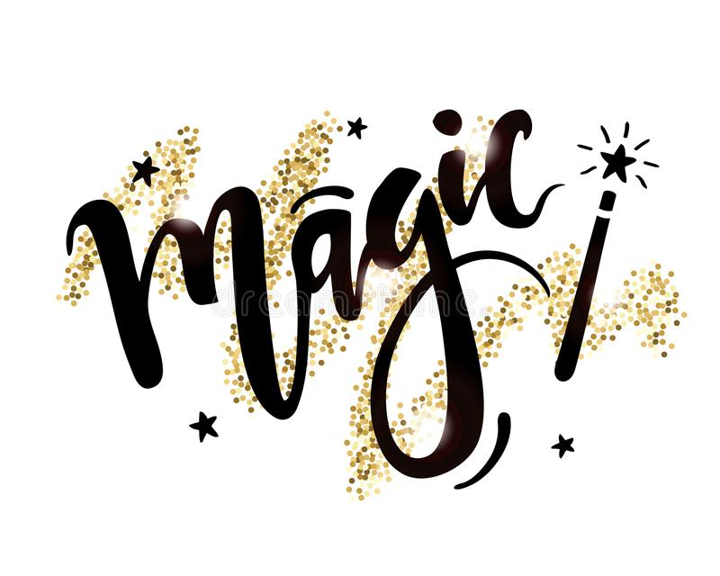 Vector hand drawn lettering of word Magic with magic wand on shiny golden background royalty free illustration