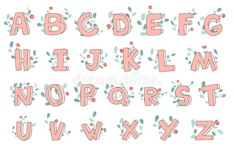 Vector hand-drawn leuk alfabet met bloemendecoratie, doopvont, brieven 3D krabbel ABC voor jonge geitjes stock illustratie