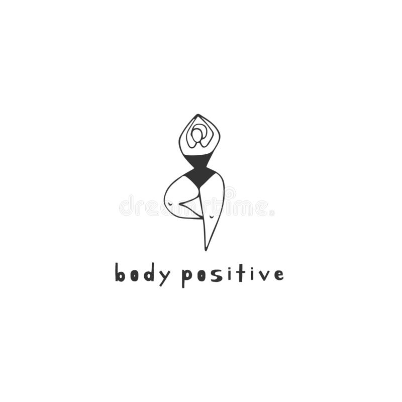 Vector hand drawn logo template. Happy dancing overweight woman. Plus size concept, body positive. vector illustration