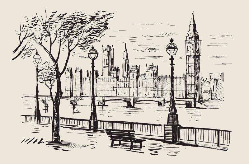 Vector hand-drawn Londen vector illustratie