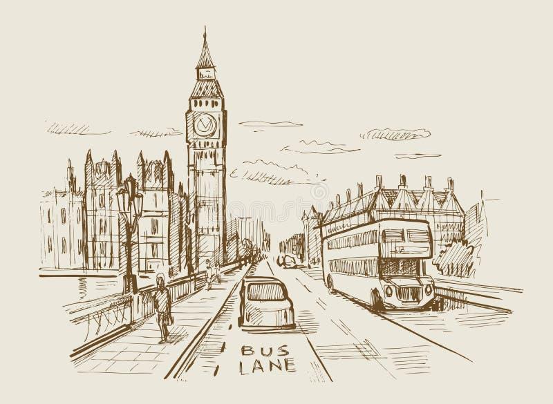 Vector hand-drawn Londen stock illustratie
