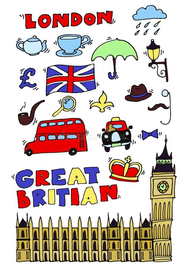 Vector hand drawn London set royalty free illustration