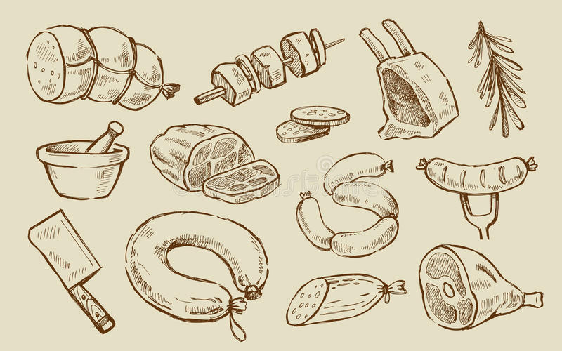 Vector hand drawn Meat. And sausage elements set royalty free illustration