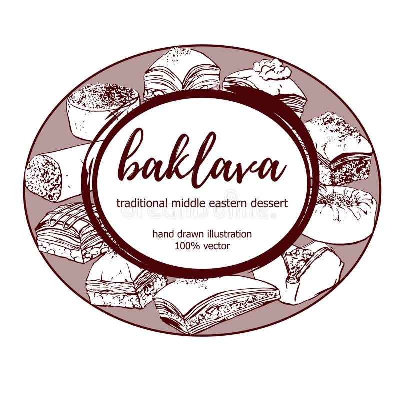 Vector hand drawn middle eastern dessert Baklava in circle label frame vector illustration