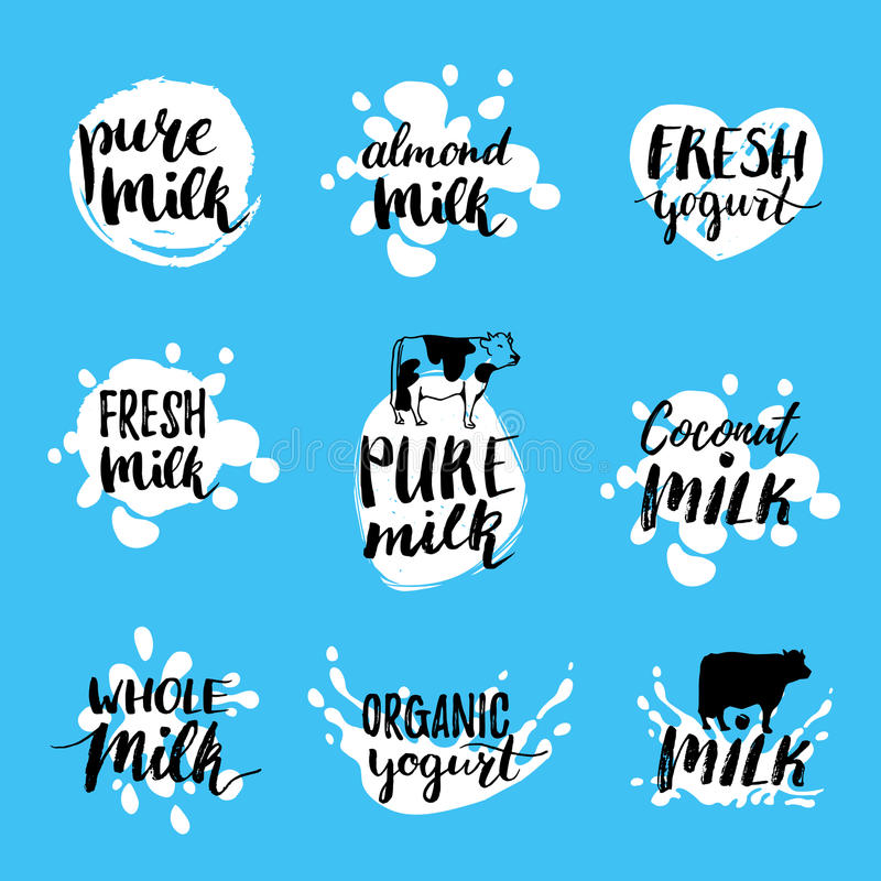 Vector hand drawn milk labels. Signs set for dairy produce. Tags collection for products packaging, advertising etc. Vector hand drawn milk logotypes or labels vector illustration