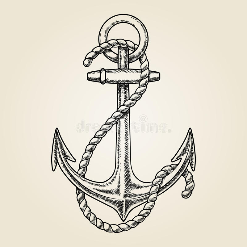 Anchor Tattoo Line Drawing : Vector hand drawn nautical anchor stock