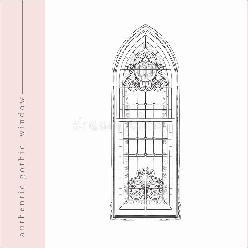 Vector Hand Drawn Old Gothic Window Illustration royalty free illustration