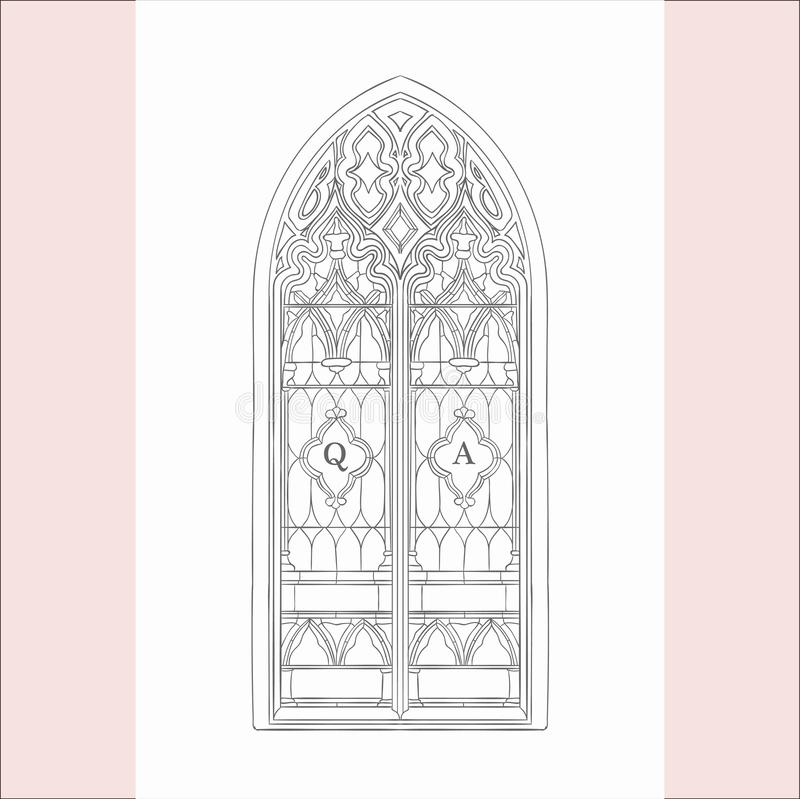 Vector Hand Drawn Old Gothic Window Illustration stock illustration