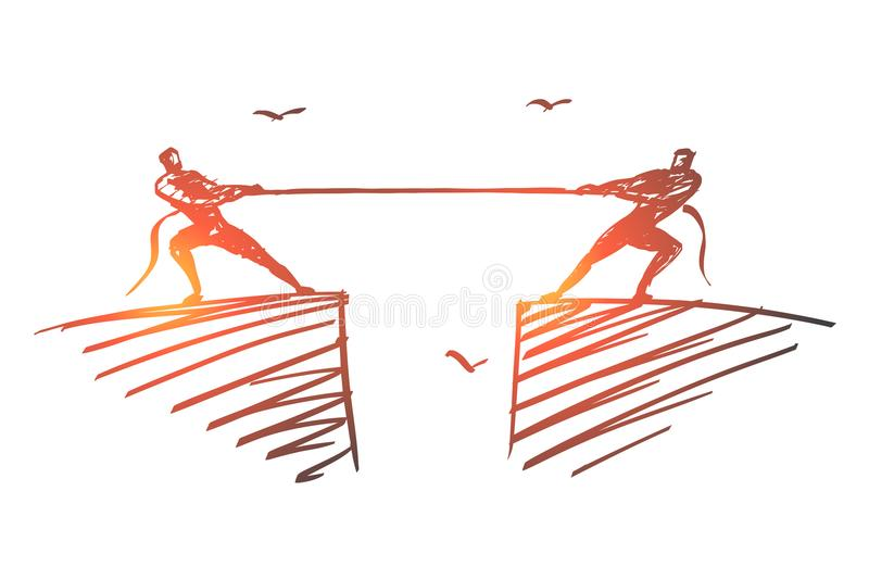 Hand drawn people dragging rope to different sides stock illustration