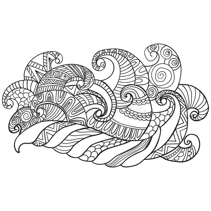 Vector hand drawn outline abstract ornamental ethnic stripe background royalty free illustration