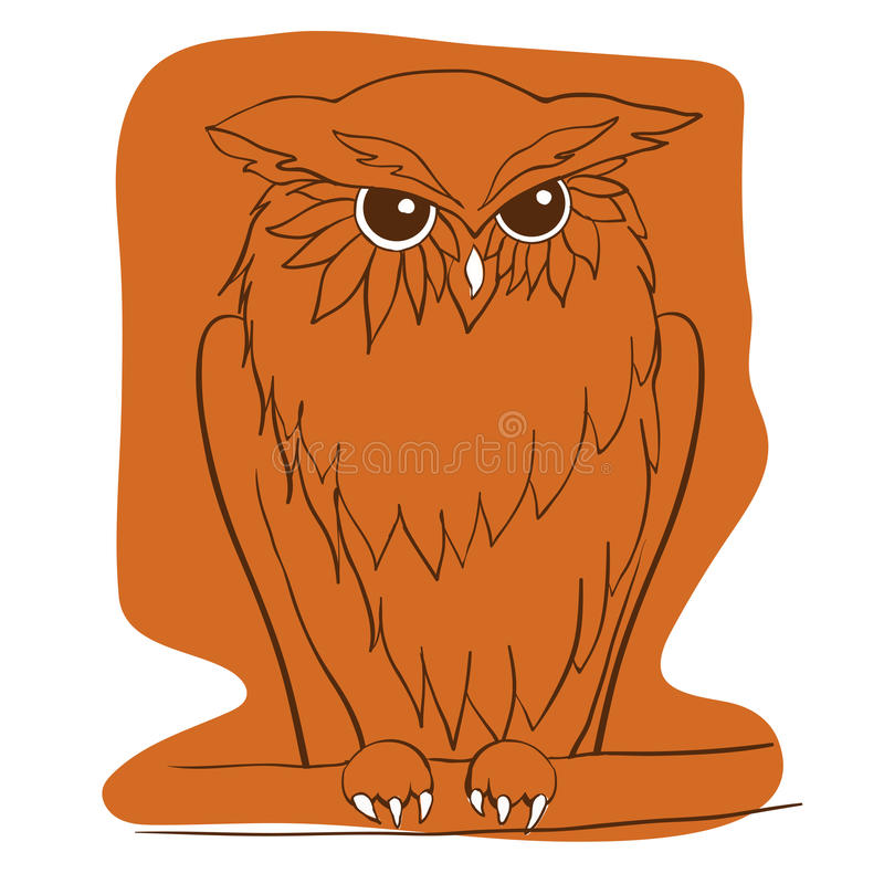 Vector hand drawn Owl sitting on branch. Ethnic patterned illustration for tattoo, poster, print, t-shirt. vector illustration