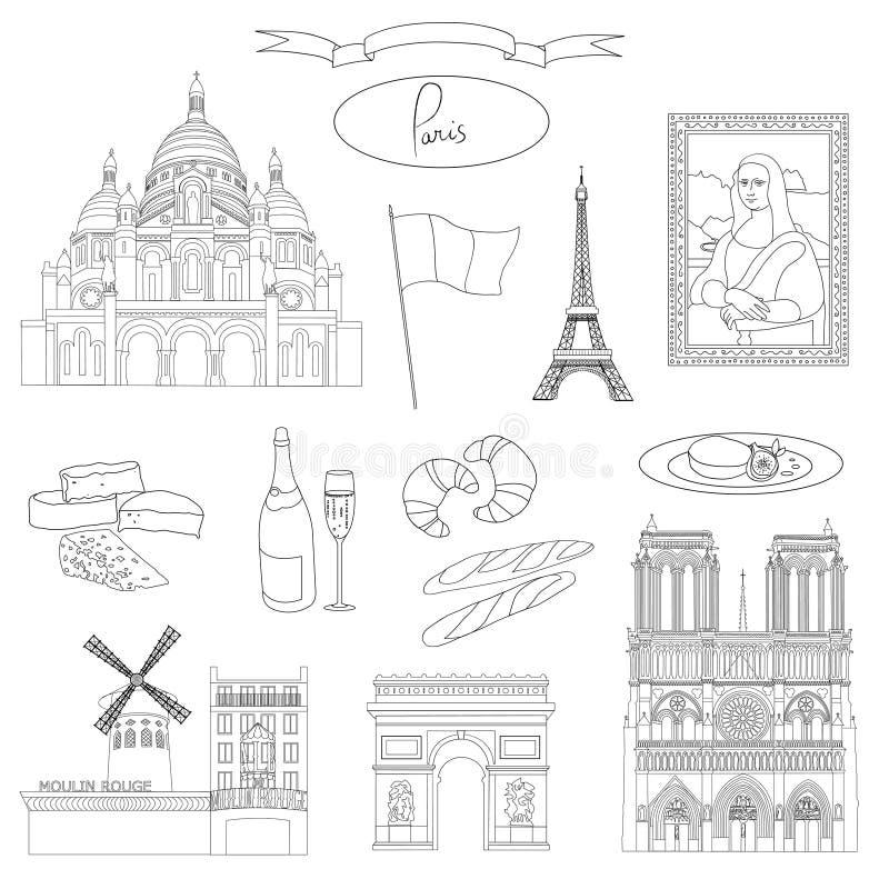 Vector hand-drawn Paris landmarks royalty free illustration