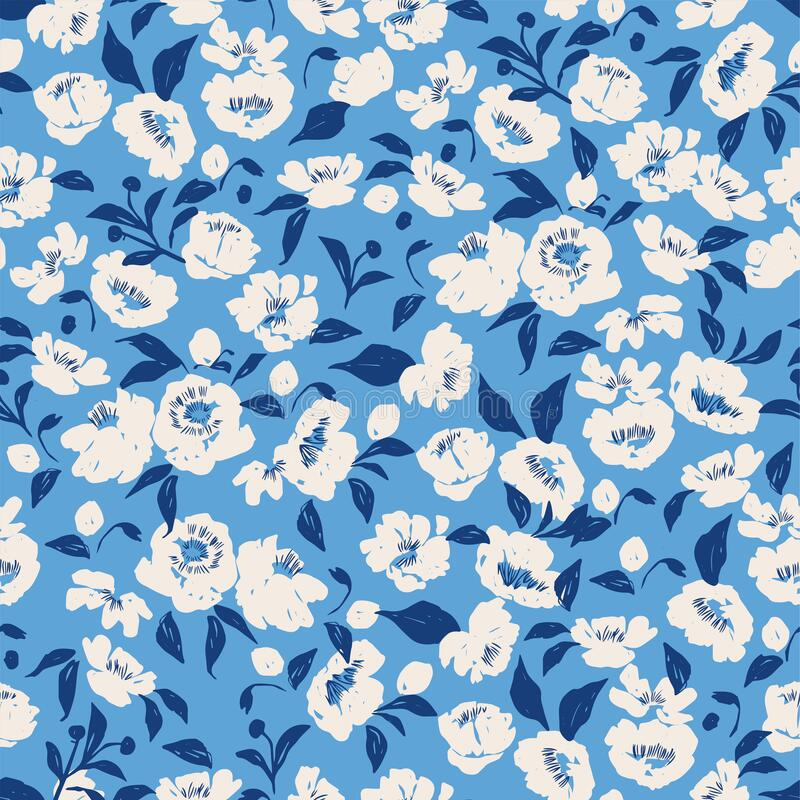 Free Vector Hand-drawn Pen Brush Textured Flower And Leaf Illustration Motif Seamless Repeat Pattern Royalty Free Stock Image - 221104696