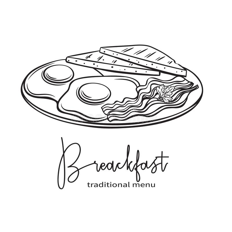 Plate of breakfast with fried eggs, vector illustration
