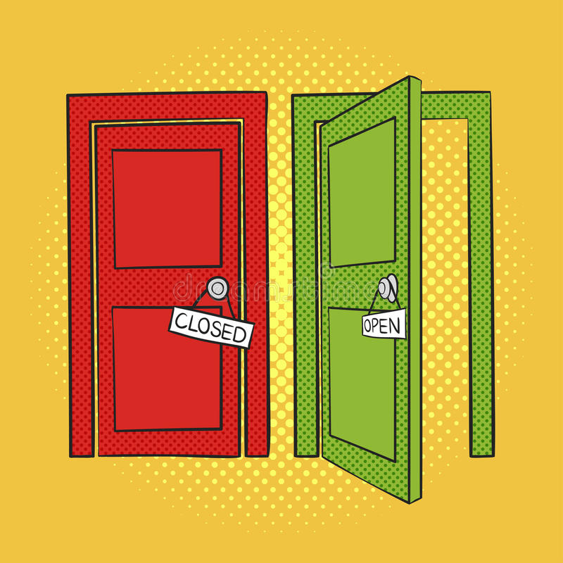 Download Vector Hand Drawn Pop Art Illustration Of Doors. Open And Closed Stock Vector -  sc 1 st  Dreamstime.com & Vector Hand Drawn Pop Art Illustration Of Doors. Open And Closed ...