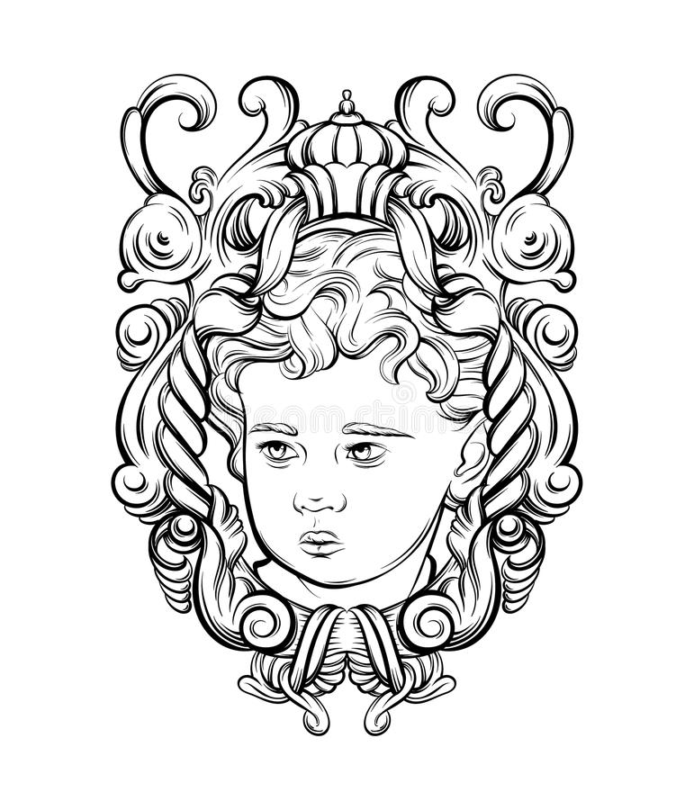 Vector hand drawn portrait of Cupid with baroque frame isolated. vector illustration
