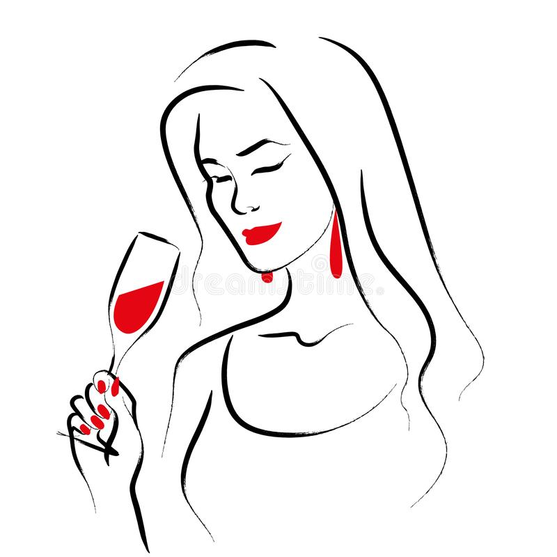 Free Vector Hand Drawn Portrait Of Young Beautiful Lady Holding Wine Glass Isolated On White Background. Stock Photos - 158132183