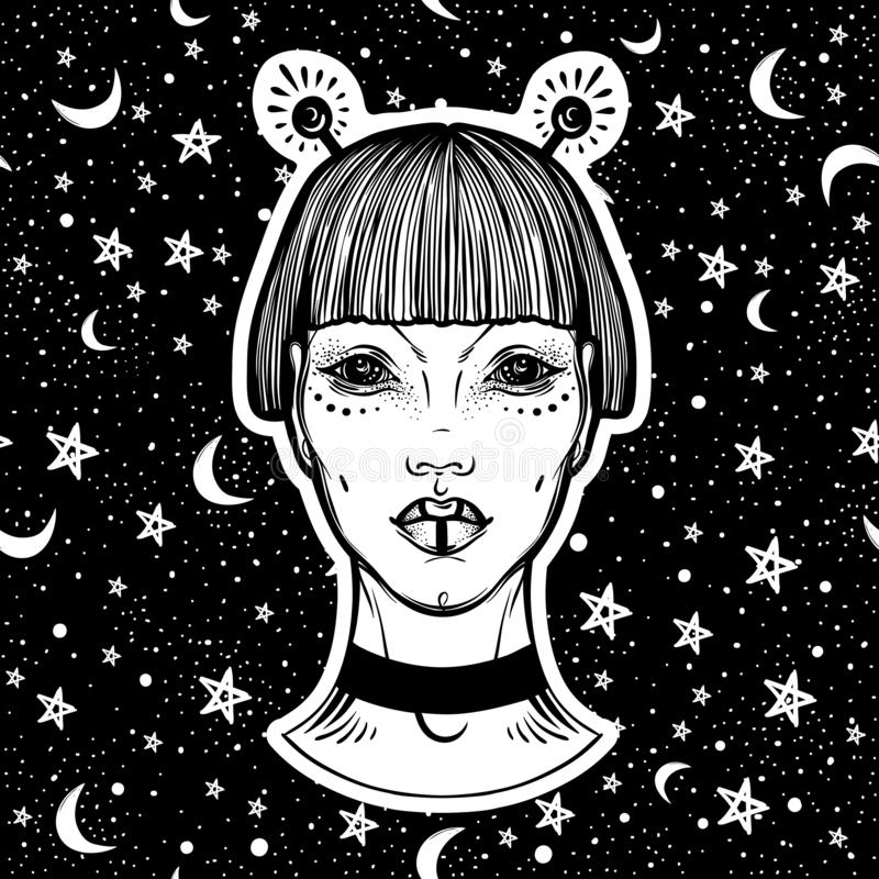 Vector hand-drawn portret van vreemd gezicht Mooi buitengewoon meisje over de achtergrond van de nachthemel Kosmische ruimte in a vector illustratie