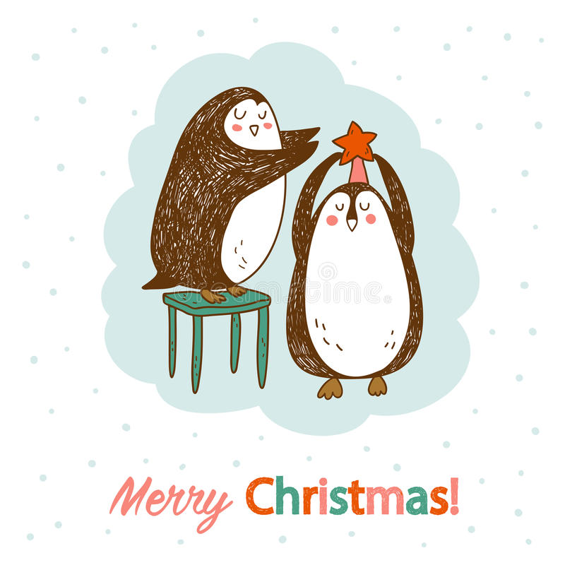 Vector hand drawn postcard with two cute penguins royalty free stock photos
