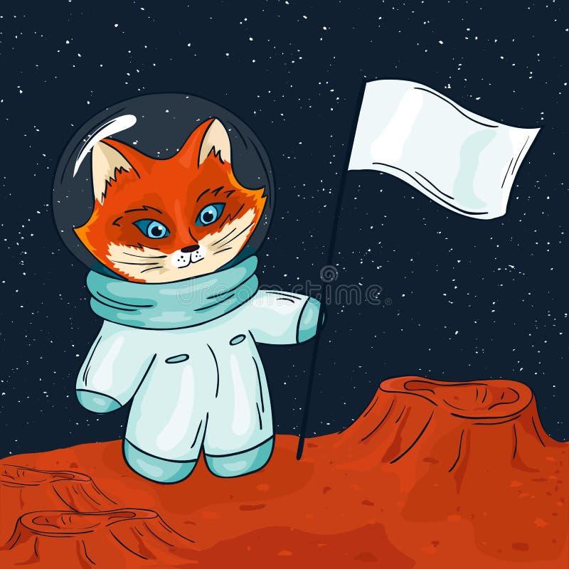 Vector hand drawn printable illustration of fox astronaut with flag on the mars.  stock illustration