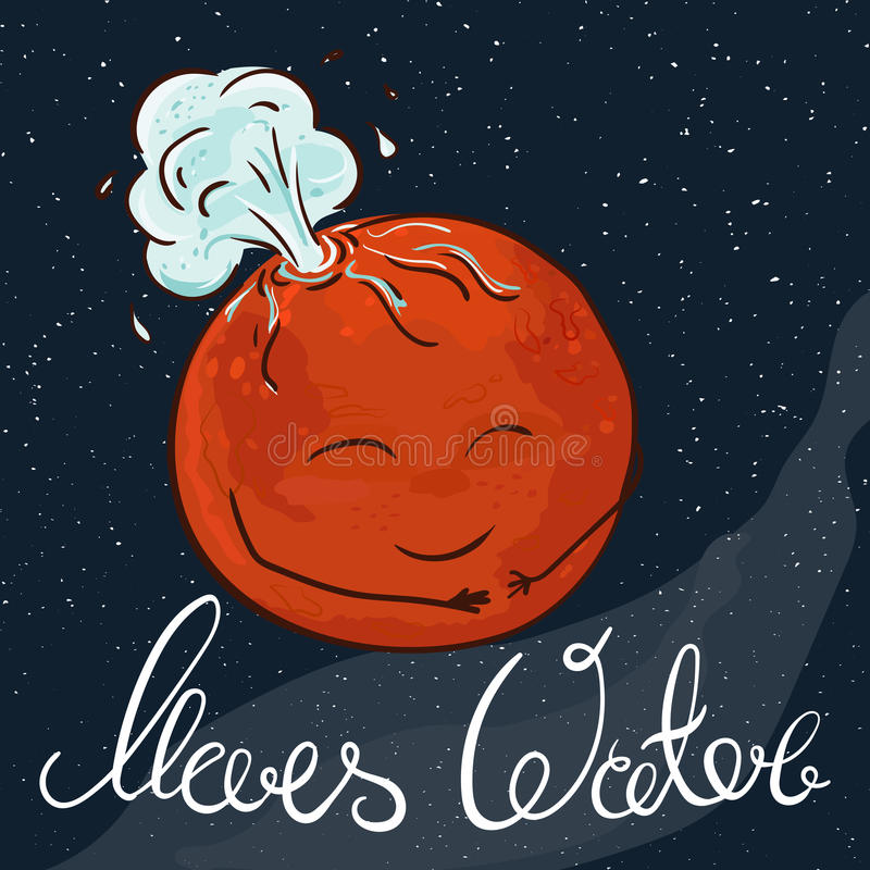 Vector hand drawn printable illustration of Mars planet with stars and milky way on the background. Mars is gushing with water stock illustration