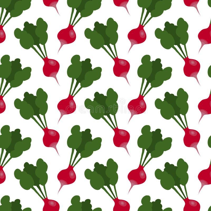 Hand drawn radish vector seamless pattern stock illustration