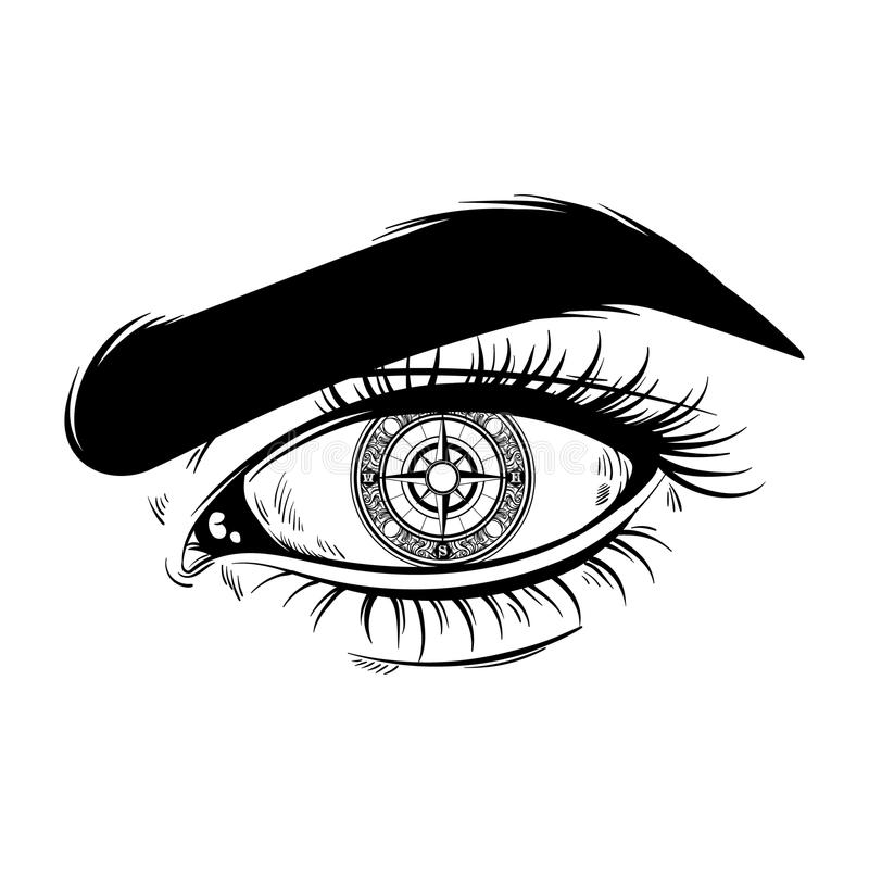 Vector hand drawn realistic illustration of human eye with compass instead pupil. Surreal tattoo artwork. royalty free illustration