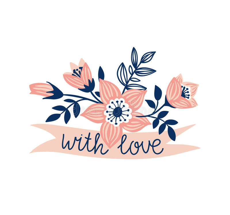 Vector hand drawn ribbon with flowers and stylish phrase - 'with love'. Floral design element. Isolated on the white background royalty free illustration