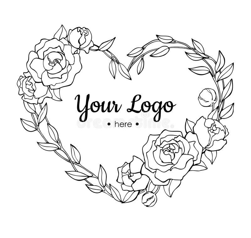 Vector hand drawn rose wreath in heart shape illustration. vector illustration
