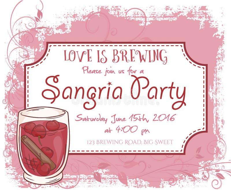 Vector Hand Drawn Sangria Party Invitation Card, Vintage Frame ...