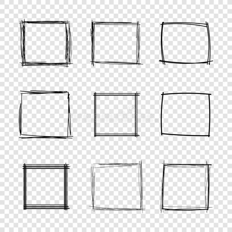 Vector Hand Drawn Scribble Square Frames on Transparent Background. stock illustration