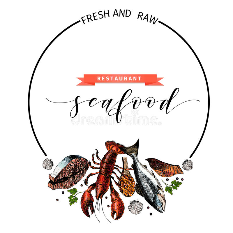 vector hand drawn seafood banner colored lobster salmon crab rh dreamstime com