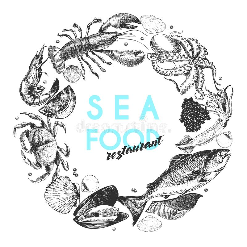 Vector hand drawn seafood logo. Lobster, salmon, crab, shrimp, ocotpus, squid, clams.Engraved art. In round border composition. Delicious menu objects. Use for royalty free illustration