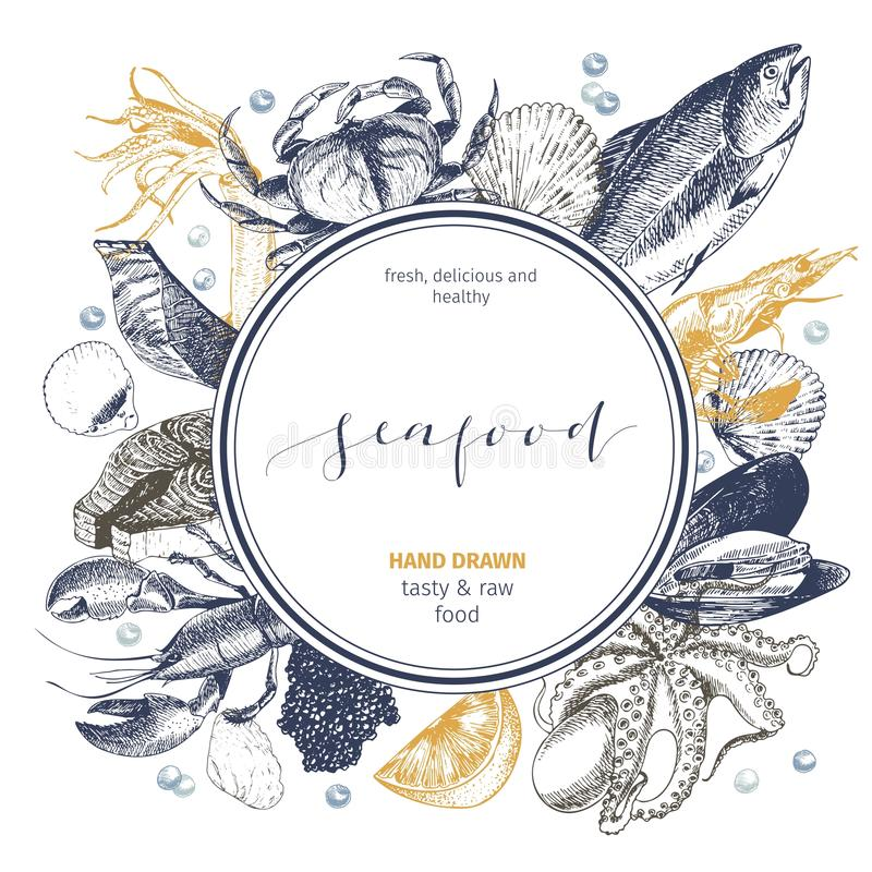Vector hand drawn seafood logo. Lobster, salmon, crab, shrimp, ocotpus, squid, clams.Engraved art in round composition. stock illustration