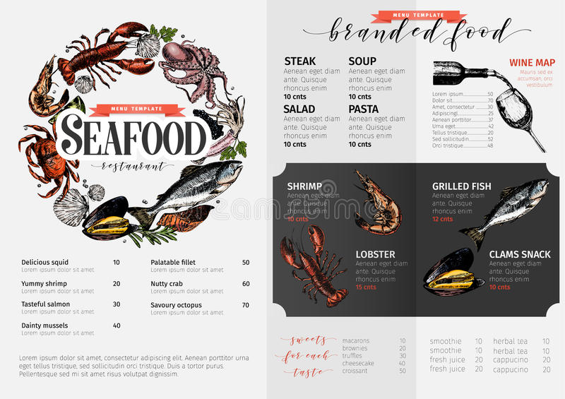 Vector hand drawn seafood menu template. colored Lobster, salmon, crab, shrimp, octopus, squid, clams. vector illustration