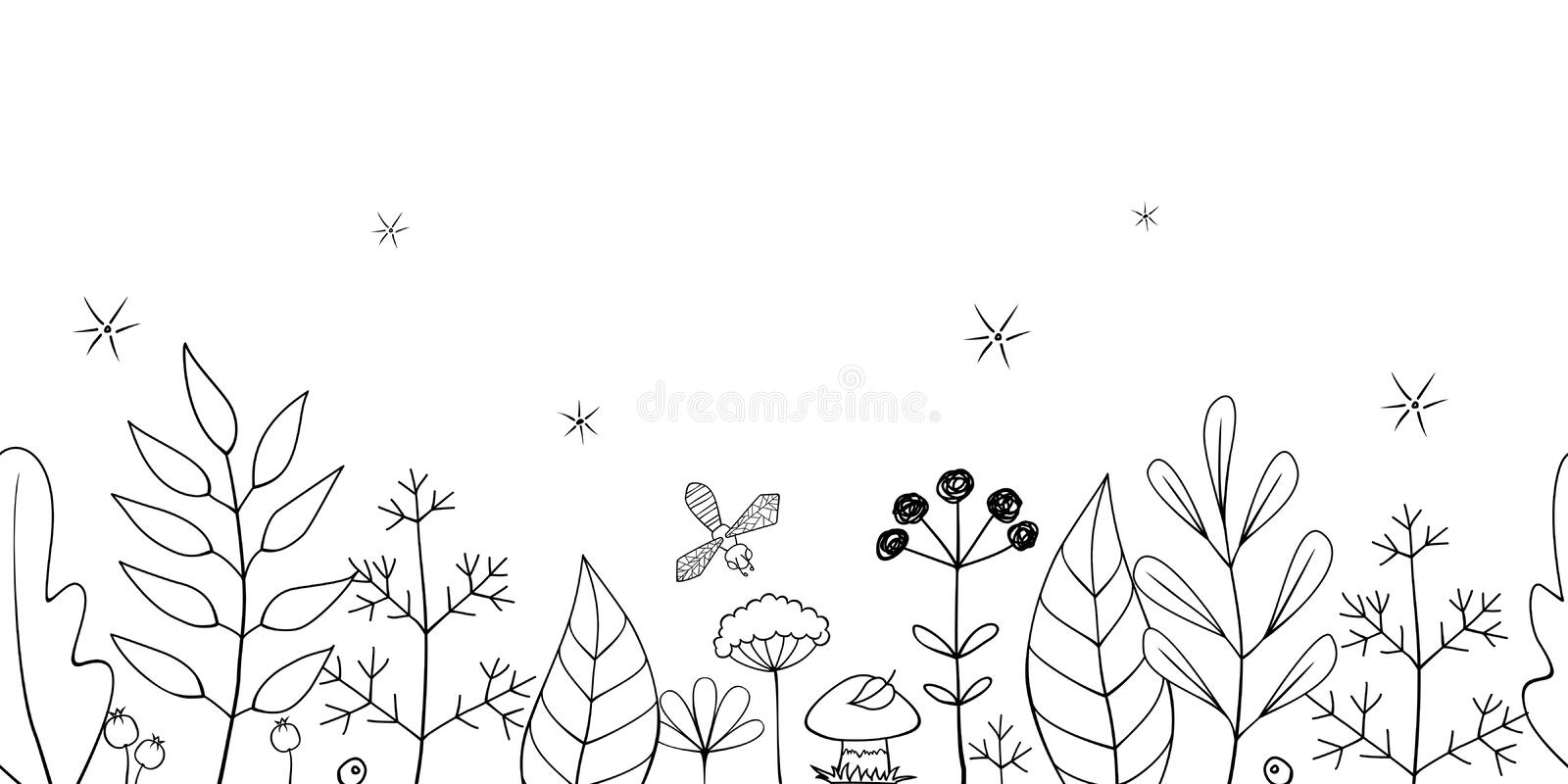 Vector Hand Drawn Seamless Floral Border Of Leaves, Plants and Flowers With A Mushroom And A Bee. Horizontal Seamless Black and. White Natural Pattern On A stock illustration