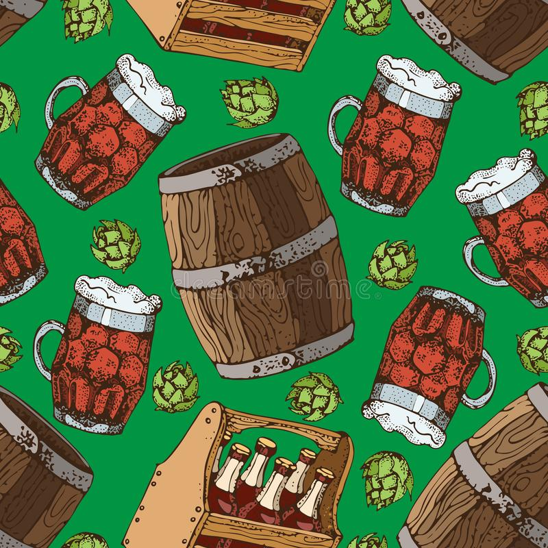 Vector hand drawn seamless pattern of beer glass mug and keg. Hops cones. Home brewing, crafted beer. vector illustration